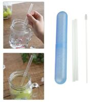4Pcs Clear Glass Straw Reusable Water Drinking with Brush Straight Wedding Straw