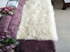 Beige White REAL TIBETAN FUR MONGOLIAN LAMBSKIN SHEEPSKIN HIDE THROW BLANKET RUG