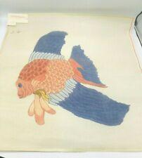 Vintage Hand Painted Needlepoint Pattern Large Koi Fish Japanese Asian Zen