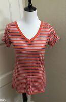 NWT Abercrombie & Fitch Women's SLIM V-NECK TEE, Orange Stripe, Medium