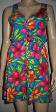 MARKS & SPENCERS Multi Colour Floral Sleeveless Cotton Playsuit Size 8-10 M&S