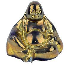 Chinese Buddhism Bronze Brass Yuan bao gourd Happy Laugh Maitreya Buddha Statue