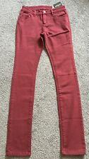 BNWT Motel Rocks Sz 8 10 LEE Slim Skinny Leg Jeans Dark Red Crimson W26 L31/32
