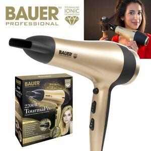 BAUER 2200W Professional Ionic Hair Dryer Concentrator Nozzle Blower Pro Salon
