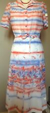 Vintage dead stock Italian 70s red white and blue chiffon dress size 8