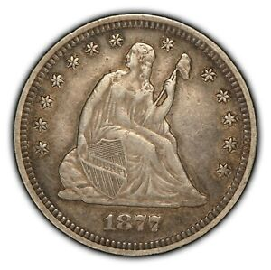 1877 25c Seated Liberty Silver Quarter - Some Luster - XF Coin - SKU-B1383