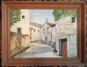 Vintage Oil Painting On Canvas Mediterranean Street White Painted Buildings