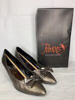Vtg PARROTS SPAIN Gray Gold Leather Womens Heels Shoes Pumps Ribbon W Box Sz 8