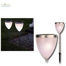 2e Set luce solare LED Pathlight Lampada da giardino Acciaio inox