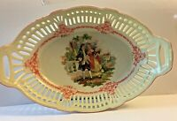 VINTAGE PORCELAIN RETICULATED COURTING COUPLE BASKET/ DISH GERMANY *