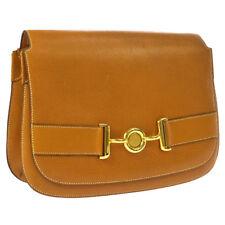 HERMES Logos Vintage Shoulder Bag Brown Pig Skin M14140g