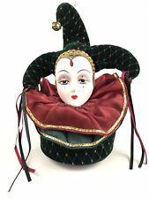 "San Francisco Music Box Co. Porcelain Face Harlequin Jester 7.5"" Victoria Impex"
