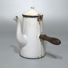 "Vintage French Enamelware Enamel Chocolate Pot, ""Chocolatière"", Wooden Handle"