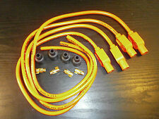 SUZUKI GS1000 TAYLOR HOT ORANGE IGNITION LEADS, COLOUR MOULDED PLUG CAPS.