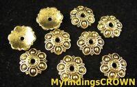 60 pcs Antiqued gold flower bead caps FC1414
