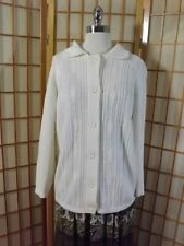 Lady Caprice Vtg 50 60s Creamy White Acrylic Textured Knit Cardigan Sweater Sz L
