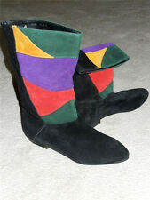 Fashion Boots Mid-Calf Genuine Lather Suede Black Green Purple Red Sz 7.5M EUC