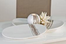 Déco Moderne COQUILLE rayures blanc/gris en céramique longueur 39 cm largeur 24