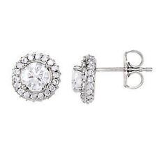 halo-style Orecchini di diamanti in 14k oro bianco (1 1/5 ct. TW