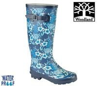 WOODLAND Womens Strap Flower Wellingtons  Navy Blue Welly Boots Size 3 4 5 6 7 8