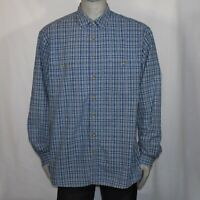 Eddie Bauer Mens XL Tall Blue Plaid Long Sleeve Button Up Shirt Front Pockets