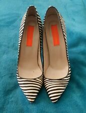 LAUREN MARINIS All Leather Skin Hide Zebra Print Size 37 Stilletos High Heels