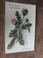 Scottish Greeting postcard- Scotland forever - Tartan & Thistle