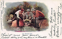 Panning Gold, Very Early Embossed Postcard, Used, Published in 1898