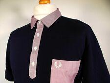 Fred Perry | Navy Woven Collar Polo - XL/2XL - Ska Mod Scooter 80's Casual Rare