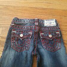 True Religion boys size 5 jeans, red & white stitching, EUC