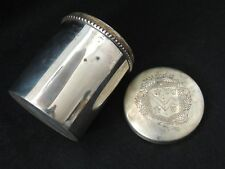 Ancien pot à Tabac / Pot couvert en métal orné d'un blason, héraldique