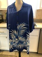 Favant Hawaiian Shirt Size XL  Blue With White Palm Leafs and Lei Flowers , NWT