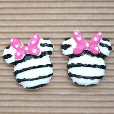 "10 pcs x (1 1/8"") Resin Mouse Flatback w/Polka Dot Bow for Mickey/Minnie SB552A"