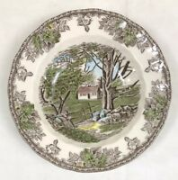 """Johnson Brothers THE FRIENDLY VILLAGE Stone Wall Rimmed Soup Bowl 8.5"""" Round"""