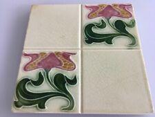 Antique English Art Nouveau Embossed Porcelain Old English Collectibles Tile