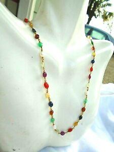 "Vintage handmade 22k gold Coral Sapphire Emerald multi gem Navratna 22""necklace"