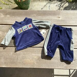 Baby Boys Baby UR It Marine Navy Blue Gray Velour Train Outfit Set NEW NWT 3-6 m
