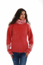 Coral White Hand Made Knitted Mohair SWEATER Fuzzy Soft Mock Pullover by SSEu