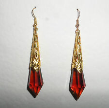 BEAUTIFUL LONG BROWN GLASS ART DECO STYLE EARRINGS GOLD PLATED FILIGREE DL