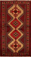 4x7 Geometric Balouch Afghan Oriental Area Rug Wool Hand-Knotted Kitchen Carpet