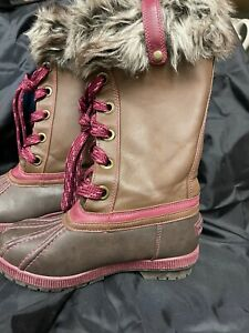 London Fog girl's boots tall snow rain brown leather fur lined rasberry size 3