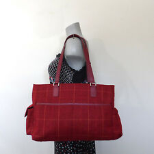 Putu by J. MacLear Red Plaid Tote Satchel Bag Large Purse Leather Trim