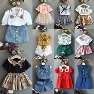 Kids Girls Fashion Plaid 2PCS Set Princess Dress Short Sleeve Top+Skirt Suit UK