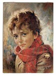 Vintage CRYING BOY PRINT Carlos Parisi  Crying Children Art Series 70's Décor