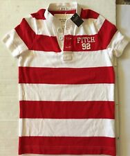 NWT Abercrombie Fitch AF Men Muscle  Red White Stripes Tee T-shirt Sz S