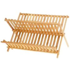 WOODEN Pine DISH DRAINER FOLDABLE KITCHEN DRYING RACK STORAGE HOLDER