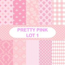 PRETTY PINK - LOT 1 SCRAPBOOK PAPER - 10 x A4 pages