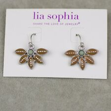 NWT Lia sophia vintage silver plate cute brown enamel leaf hoop drop earrings