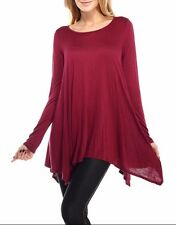 USA Womens Dolman Top Shirt Long Sleeve Scoop Neck Asymmetrical Tunic SML PLUS