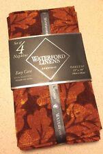New listing Waterford Oakleaf Russet 4Pc Set Cotton Napkins Leaves Floral